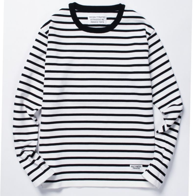 画像1: WACKO MARIA STRIPED KNIT T-SHIRT