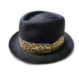 WACKO MARIA Panama Hat Black 01 (Beige Leopard Ribon)