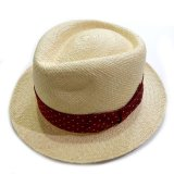 WACKO MARIA PANAMA HAT NATURE 01 (RED DOTS)